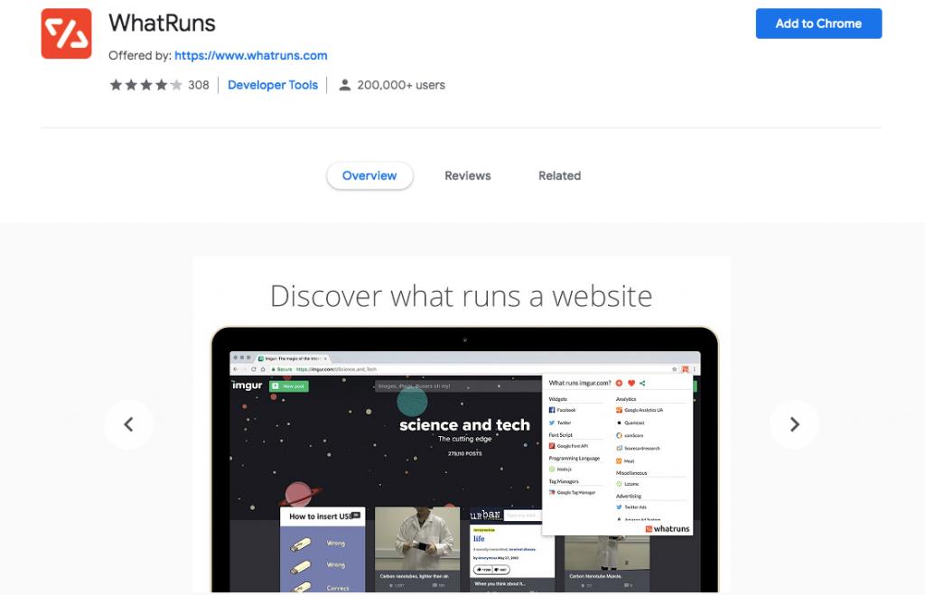 WhatRuns Chrome WordPress extension