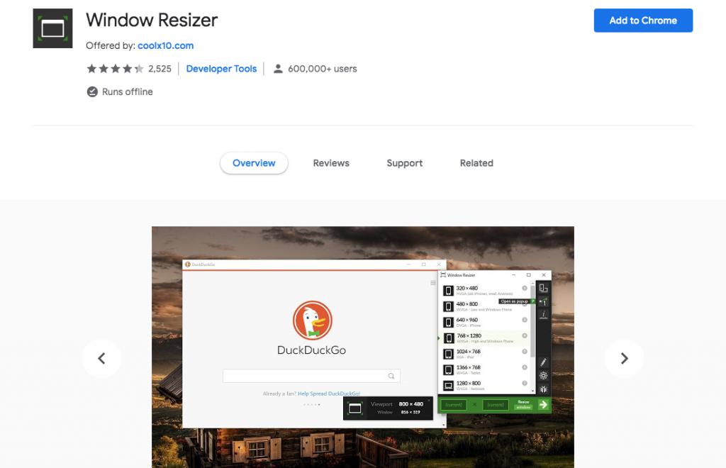 Window resizer Chrome WordPress extension
