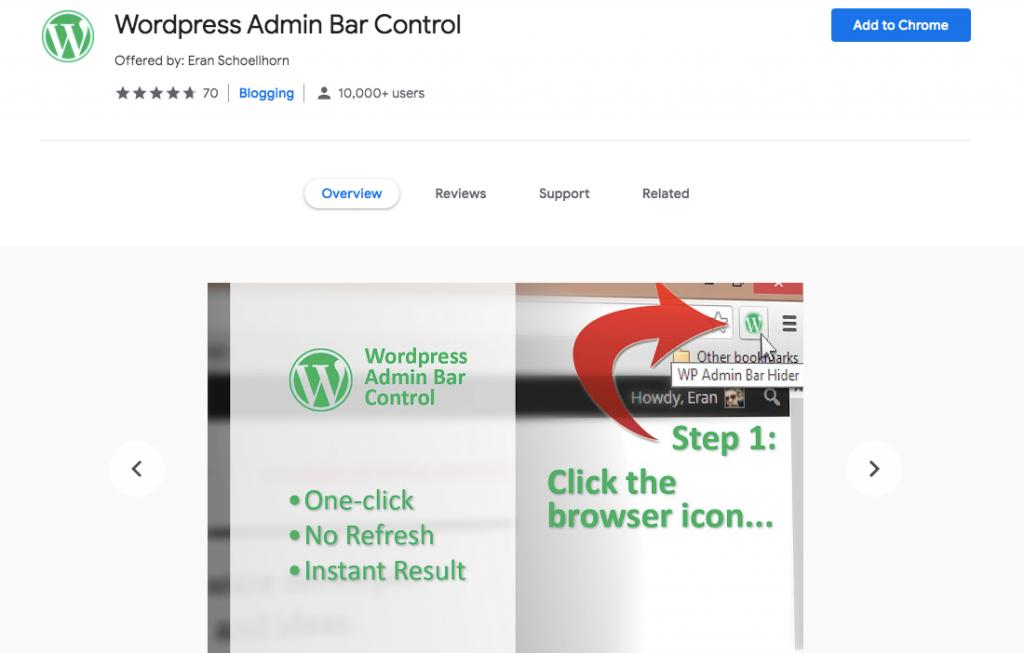 WordPress admin control Chrome extension