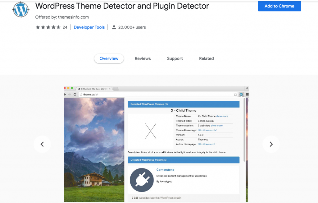 WordPress theme detector Chrome WordPress extension