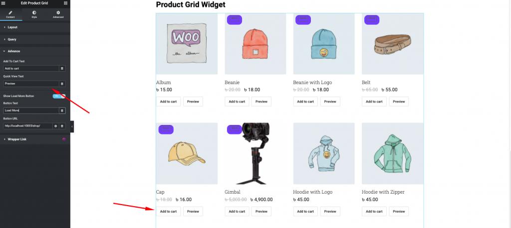 Product grid advance settings