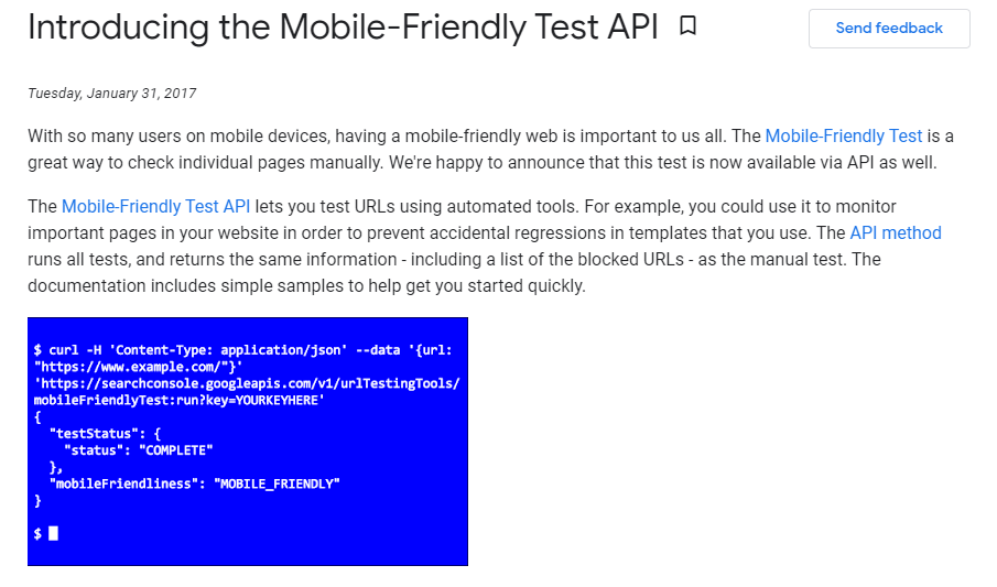mobile-friendly test for developers