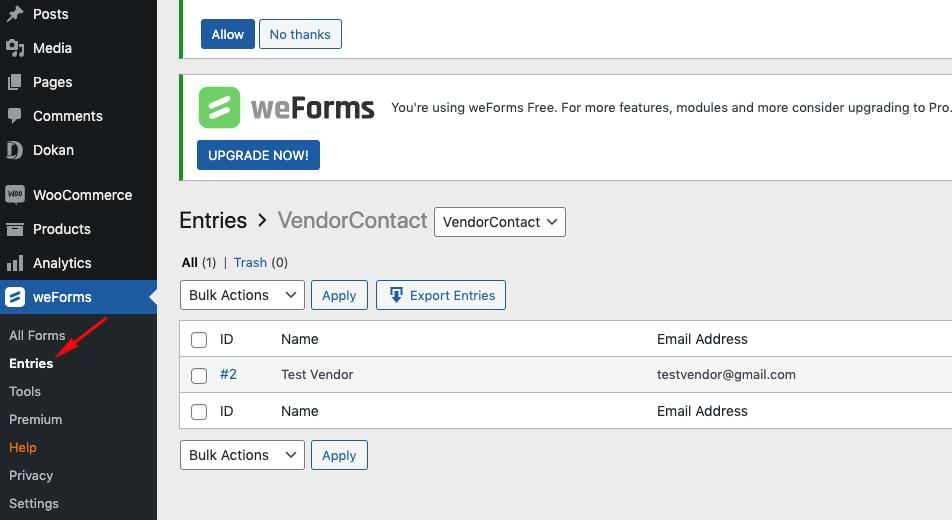 Create Vendor Contact Form